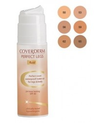 COVERDERM PERFECT LEGS No62 FLUID WATERPROOF MAKE-UP FOR LEGS & BODY 24h LASTING SPF40 75ml