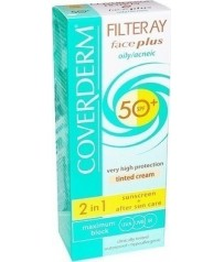 Coverderm Filteray Face Plus 2 in 1 Tinted Soft Brown  oily /acneic Skin SPF50+ 50ml